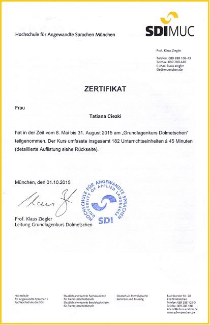 SDI Zertifikat